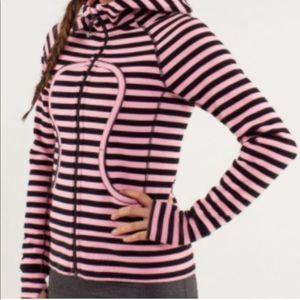 Lululemon striped scuba hoodie pink black zip up